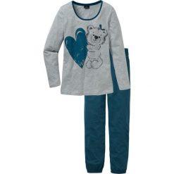 Piżamy damskie: Piżama bonprix niebieskozielony z nadrukiem