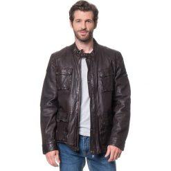 Kurtki męskie bomber: Skórzana kurtka w kolorze ciemnobrązowym