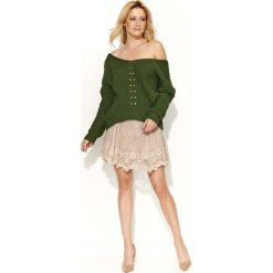 Swetry damskie: Khaki Sweter Krótki z Dużym Dekoltem V