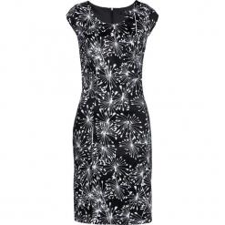 Sukienka ołówkowa bonprix czarno-biały z nadrukiem. Białe sukienki z falbanami marki bonprix, z nadrukiem, dopasowane. Za 109,99 zł.