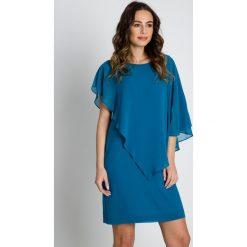 Sukienki: Turkusowa sukienka z szyfonu  BIALCON
