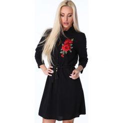 Sukienki: Czarna Haftowana Sukienka Koszulowa 1170