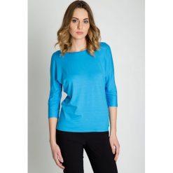Niebieska bluzka z rękawem 3/4 BIALCON. Niebieskie bluzki asymetryczne BIALCON. Za 95,00 zł.
