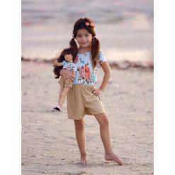 Kombinezony dziewczęce: Kombinezon w kolorze błękitno-beżowym dla dziecka i lalki
