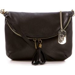 Torebki klasyczne damskie: Skórzana torebka w kolorze czarnym – 22 x 18 x 2 cm
