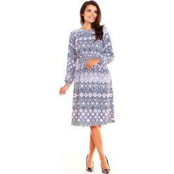 Wzorzysta Kobieca Sukienka w Romby Midi z Długim Rękawem. Szare sukienki balowe Molly.pl, na spotkanie biznesowe, l, z tkaniny, z długim rękawem, midi. Za 138,90 zł.