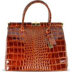 """Torebki klasyczne damskie: Skórzana torebka """"Justine"""" w kolorze karmelowym – 33 x 26 x 16 cm"""