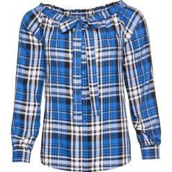 Bluzka z odsłoniętymi ramionami bonprix lodowy niebieski w kratę. Niebieskie bluzki z odkrytymi ramionami bonprix, z kokardą. Za 37,99 zł.