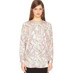 Bluzki asymetryczne: Zworzysta bluzka z okrągłym wycięceim szyi i długim rękawem
