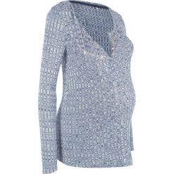Lekki sweter ciążowy i do karmienia piersią bonprix indygo melanż. Niebieskie swetry klasyczne damskie bonprix, moda ciążowa. Za 74,99 zł.