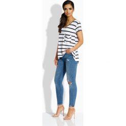 Bluzki damskie: Casualowa bluzka z kieszonką granatowa-biały