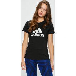Adidas Performance - Top. Czarne topy sportowe damskie adidas Performance, s, z nadrukiem, z dzianiny, z okrągłym kołnierzem. W wyprzedaży za 99,90 zł.