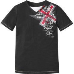 """Odzież chłopięca: T-shirt """"used"""" bonprix czarny z nadrukiem"""