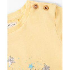 Mango Kids - Top dziecięcy Fanalet 80-104 cm. Brązowe bluzki dziewczęce bawełniane marki Mango Kids, z nadrukiem, z okrągłym kołnierzem. W wyprzedaży za 29,90 zł.