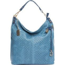 Torebki klasyczne damskie: Skórzana torebka w kolorze błękitnym – 42 x 38 x 17 cm