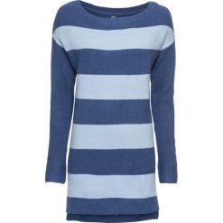 Swetry klasyczne damskie: Sweter dzianinowy bonprix jasny indygo - pudrowy niebieski w paski