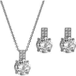 Kolczyki damskie: 2-częściowy zestaw w kolorze srebrnym – naszyjnik, kolczyki