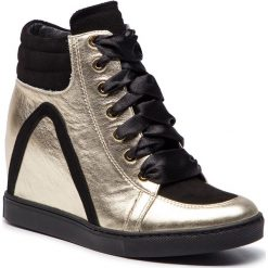 Sneakersy BALDOWSKI - W00559-SNIK-003 Mustang Złoty Sat./Zamsz Czarny. Żółte sneakersy damskie Baldowski, ze skóry. W wyprzedaży za 499,00 zł.