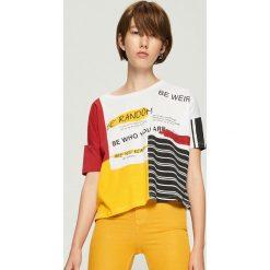 Bluzki, topy, tuniki: T-shirt oversize w bloki kolorów - Biały