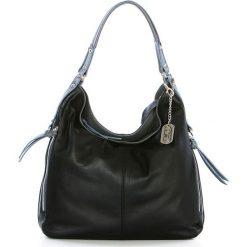 Torebki klasyczne damskie: Skórzana torebka w kolorze czarno-szarym – 36 x 39 x 16 cm