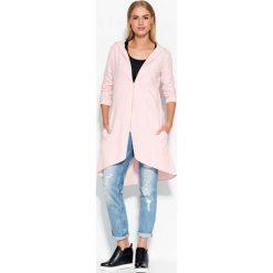 Bluzy rozpinane damskie: Asymetryczna Różowa Długa Bluza z Kapturem