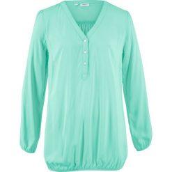 """Bluzka z dekoltem """"henley"""", długi rękaw bonprix jasny miętowy. Zielone bluzki longsleeves marki bonprix, z kołnierzem typu henley. Za 32,99 zł."""