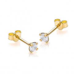 Złote kolczyki z cyrkoniami. Żółte kolczyki damskie Golden Moments, z cyrkonią, złote. W wyprzedaży za 94,95 zł.