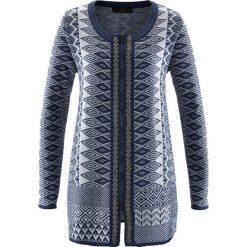 Długi sweter rozpinany bonprix indygo-biel wełny. Niebieskie kardigany damskie bonprix, z wełny. Za 99,99 zł.