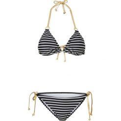 Stroje dwuczęściowe damskie: Bikini z trójkątnymi miseczkami (2 części) bonprix czarno-biało-złoty