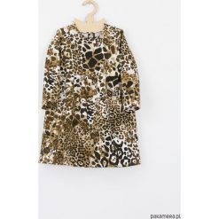 Sukienka safari panterka cetki. Szare sukienki dziewczęce z falbanami Pakamera, z motywem zwierzęcym, eleganckie, z długim rękawem, długie. Za 119,00 zł.