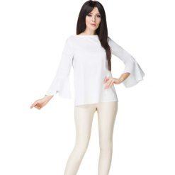 Biała Bluzka z Hiszpańskim Rękawem. Białe bluzki longsleeves Molly.pl, l, w jednolite wzory, z jeansu, biznesowe. Za 149,00 zł.