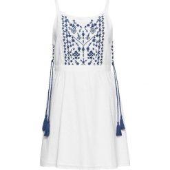 Sukienki: Sukienka z haftem i wiązanymi troczkami w talii bonprix biały