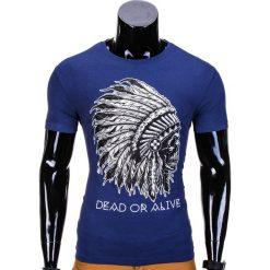 T-SHIRT MĘSKI Z NADRUKIEM S613 - JASNOGRANATOWY. Niebieskie t-shirty męskie z nadrukiem Ombre Clothing, m. Za 29,00 zł.