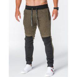 SPODNIE MĘSKIE DRESOWE P642 - KHAKI. Zielone spodnie dresowe męskie marki Ombre Clothing, na zimę, m, z bawełny, z kapturem. Za 55,00 zł.