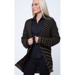 Kardigan swetrowy czarno-oliwkowy MP32039. Czarne kardigany damskie marki Fasardi, l. Za 71,20 zł.