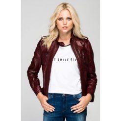 Odzież damska: Skórzana kurtka w kolorze bordowym
