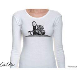 Kwiat - damska koszulka z długim rękawem. Białe bluzki asymetryczne Pakamera, z długim rękawem. Za 79,00 zł.
