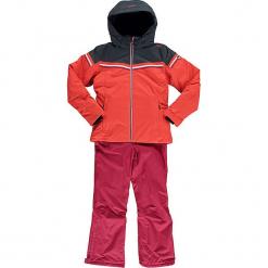 2-częściowy zestaw narciarski w kolorze koralowo-jagodowym. Czerwone kurtki dziewczęce przeciwdeszczowe marki Reserved, z kapturem. W wyprzedaży za 272,95 zł.