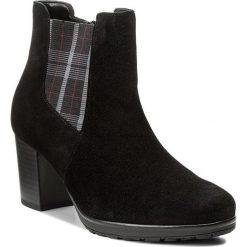 Botki GABOR - 75.541.37 Schwarz. Czarne buty zimowe damskie Gabor, z materiału, na obcasie. W wyprzedaży za 329,00 zł.