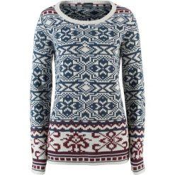Swetry klasyczne damskie: Sweter bonprix biel wełny – czerwony klonowy wzorzysty
