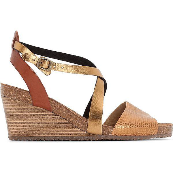ba5395b4 Sandały skórzane na koturnie SPAGNOL - Brązowe sandały damskie ...