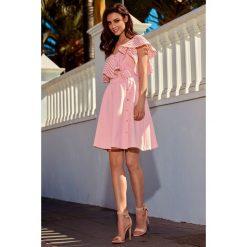 Sukienka koktajlowa na jedno ramię morela CASSIDY. Brązowe sukienki hiszpanki Lemoniade, na co dzień, na lato, s, street. Za 119,00 zł.