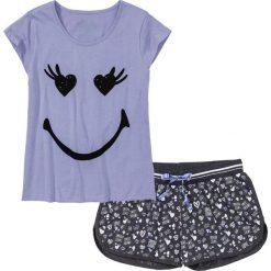 Piżamy damskie: Piżama z krótkimi spodenkami bonprix lawenda – antracytowy melanż z nadrukiem