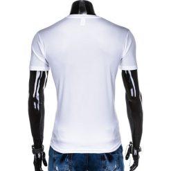 T-SHIRT MĘSKI BEZ NADRUKU S883 - BIAŁY. Białe t-shirty męskie z nadrukiem Ombre Clothing, m. Za 19,99 zł.