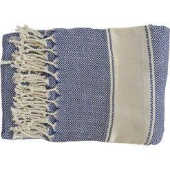 Kąpielówki męskie: Ręcznik w kolorze niebiesko-kremowym