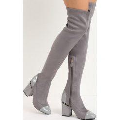 Szare Kozaki Reach the Sky. Szare buty zimowe damskie Born2be, z okrągłym noskiem, na niskim obcasie, na słupku. Za 129,99 zł.