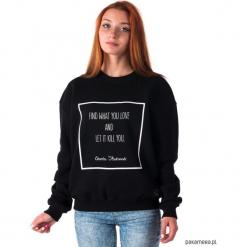 Bluza unisex z cytatem, Charles Bukowski. Czarne bluzy męskie rozpinane marki Pakamera, m, z kapturem. Za 179,00 zł.