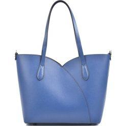 Torebki klasyczne damskie: Skórzana torebka w kolorze niebieskim – (S)27 x (W)39 x (G)12 cm