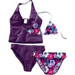 Stroje dwuczęściowe dziewczęce: Bikini+tankini (4 części) bonprix ciemny lila z nadrukiem