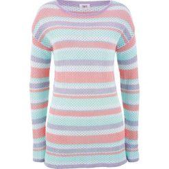 Sweter w siatkowy wzór bonprix pastelowy miętowy - jasnoróżowy cukierkowy w paski. Białe swetry klasyczne damskie bonprix. Za 49,99 zł.